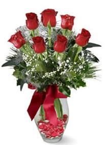 Ankara internetten çiçek siparişi  7 adet kirmizi gül cam vazo yada mika vazoda