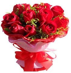 9 adet kirmizi güllerden kipkirmizi buket  Ankara çiçekçiler