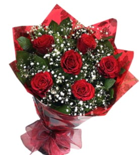 6 adet kırmızı gülden buket  Ankara yurtiçi ve yurtdışı çiçek siparişi
