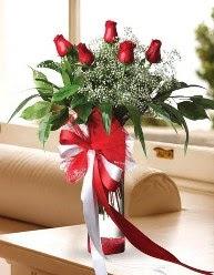 Camda 5 kırmızı gül tanzimi  Ankara çiçekçi telefonları
