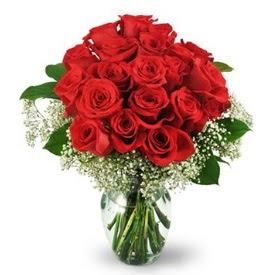 25 adet kırmızı gül cam vazoda  Ankara çiçek , çiçekçi , çiçekçilik
