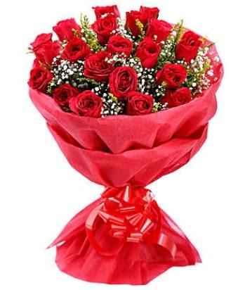 21 adet kırmızı gülden modern buket  Ankara çiçek gönderme