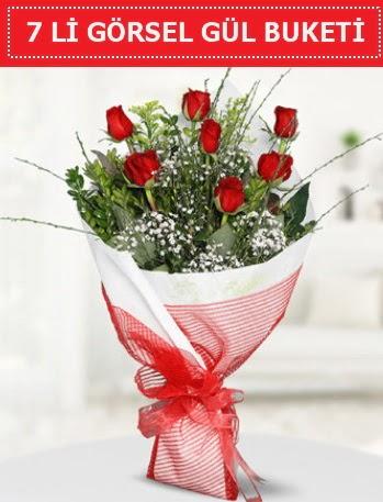 7 adet kırmızı gül buketi Aşk budur  Ankara çiçek satışı