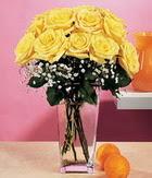 Ankara internetten çiçek satışı  9 adet sari güllerden cam yada mika vazo