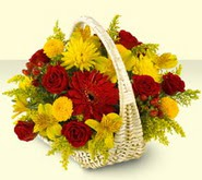 Ankara 14 şubat sevgililer günü çiçek  sepette mevsim çiçekleri