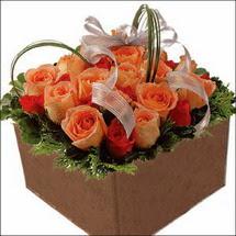 kare sandikta 11 gülllerden   Ankara çiçekçi mağazası