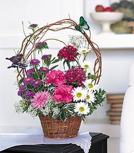 Ankara cicekciler , cicek siparisi  sepet içerisinde karanfil gerbera ve kir çiçekleri
