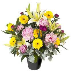 karisik mevsim çiçeklerinden vazo tanzimi  Ankara uluslararası çiçek gönderme