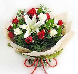 güller ve kazablanklardan görsel bir buket  Ankara internetten çiçek satışı