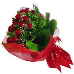 Ankara kaliteli taze ve ucuz çiçekler  12 adet kirmizi essiz gül buketi - SEVENE ÖZEL