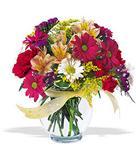 Ankara çiçek , çiçekçi , çiçekçilik  cam yada mika vazo içerisinde karisik kir çiçekleri