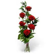 Ankara çiçek siparişi sitesi  cam yada mika vazo içerisinde 6 adet kirmizi gül