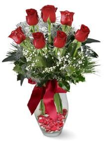 7 adet vazoda gül  Ankara internetten çiçek satışı  kirmizi gül
