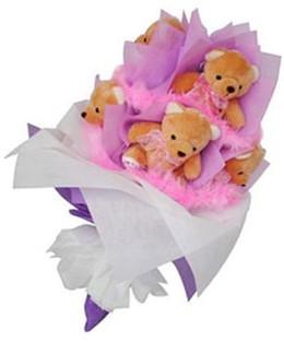 9 adet ayiciktan buket  Ankara hediye sevgilime hediye çiçek