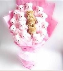 17 adet pelus ayicik buketi  Ankara İnternetten çiçek siparişi