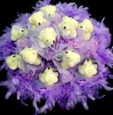 11 adet pelus ayicik buketi  Ankara çiçek , çiçekçi , çiçekçilik