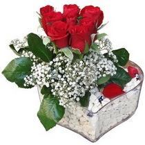 Ankara güvenli kaliteli hızlı çiçek  kalp mika içerisinde 7 adet kirmizi gül