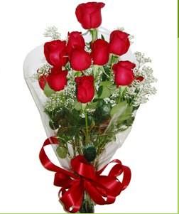 Ankara uluslararası çiçek gönderme  10 adet kırmızı gülden görsel buket