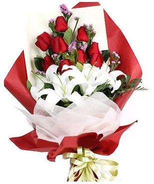 Ankara çiçekçiler  1 dal kazablankaa 9 adet kırmızı gül buketi