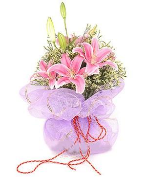 3 dal kazablanka görsel buketi  Ankara internetten çiçek satışı