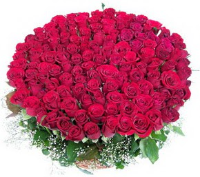 Ankara online çiçekçi , çiçek siparişi  100 adet kırmızı gülden görsel buket
