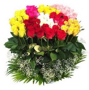 Ankara çiçek mağazası , çiçekçi adresleri  51 adet renkli güllerden aranjman tanzimi