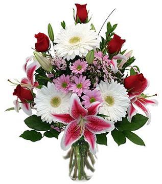 Ankara çiçek mağazası , çiçekçi adresleri  1 dal kazablanka 5 gül ve kırçiçeği vazosu