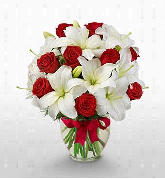 Ankara hediye çiçek yolla  1 dal kazablanka 11 adet kırmızı gül vazosu