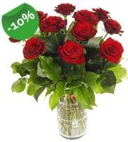 11 adet vazo içerisinde kırmızı gül  Ankara online çiçek gönderme sipariş