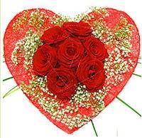 Mika kalp içerisinde 7 adet kırmızı gül  Ankara çiçekçi mağazası