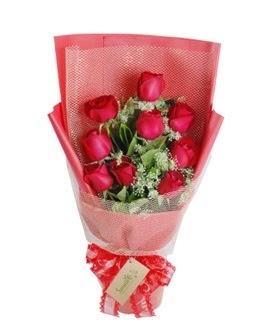 9 adet kırmızı gülden görsel buket  Ankara ucuz çiçek gönder
