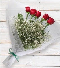 5 kırmızı gülden sade buket  Ankara çiçek yolla
