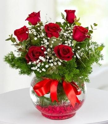 fanus Vazoda 7 Gül  Ankara çiçek , çiçekçi , çiçekçilik
