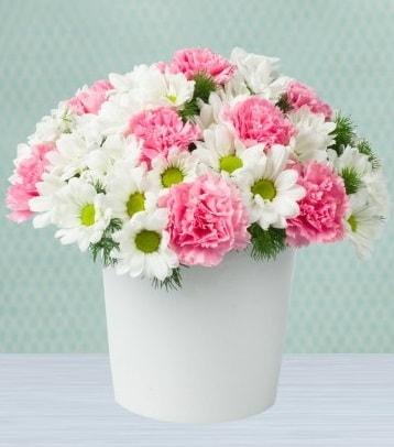 Seramik vazoda papatya ve kır çiçekleri  Ankara çiçek siparişi sitesi
