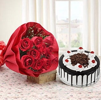 12 adet kırmızı gül 4 kişilik yaş pasta  Ankara çiçek , çiçekçi , çiçekçilik