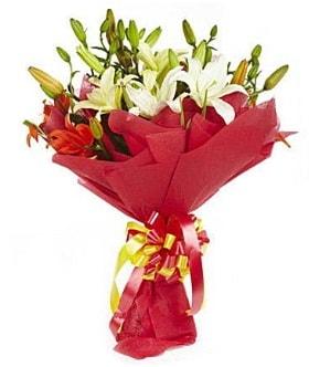 5 dal kazanlanka lilyum buketi  Ankara çiçek gönderme sitemiz güvenlidir