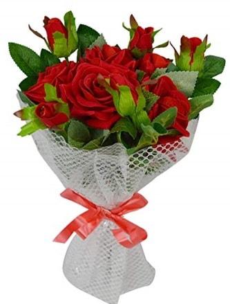 9 adet kırmızı gülden sade şık buket  Ankara çiçekçi telefonları
