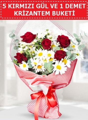 5 adet kırmızı gül ve krizantem buketi  Ankara çiçek satışı