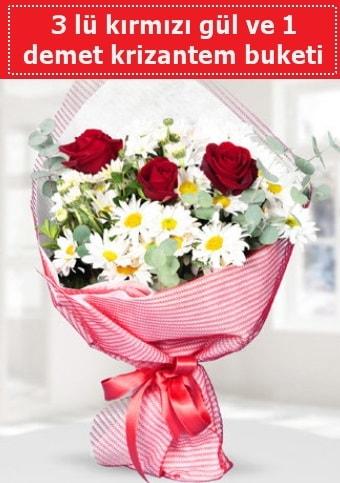 3 adet kırmızı gül ve krizantem buketi  Ankara çiçek gönderme sitemiz güvenlidir